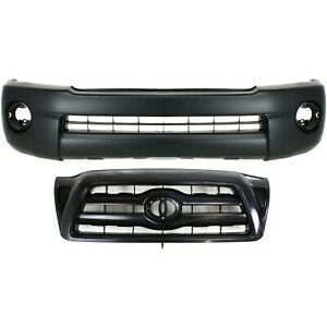Bumper Cover Kit For 2005 2010 Toyota Tacoma Front 2pc With Grille