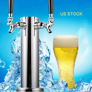 Draft Beer Coffee Kegerator Tower 2 Tap 2 Faucet 3 Stainless Steel Homebrew Bar