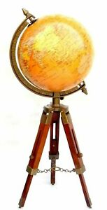 Brass Antique World Map Globe Ornament With Wooden Stand Nautical Desk Decor