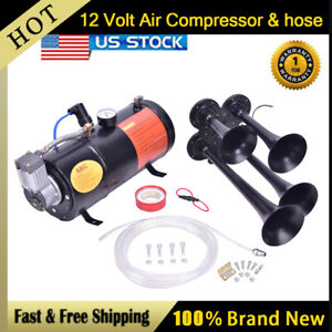 4 trumpet 150 Psi Air System 150db Metal 12v Train Air Horn Kit For Car Truck T