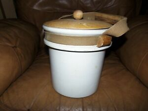 Old Ventage 9 1 4 Crock With Web Strap Handle And Wood Lid
