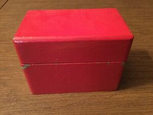 Vintage Recipe Card Box Red Wood With Alphabetized 3 X 5 File Cards