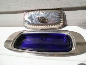 Vintage Silverplate Butter Dish Cobalt Glass Liner Gorgeous