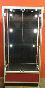 Glass Locking Display Cabinet 2 Glass Shelves 9 Lights 3 Top 6 Back