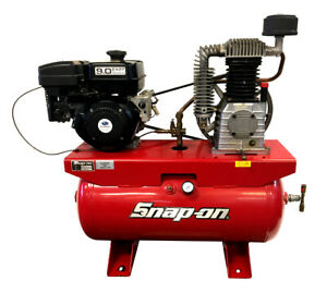 Snap on Air Compressor Stationary Horizontal Gas Engine 30 gallon 9 0 Hp