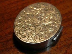 Vintage Oval Hinged Sterling Silver Pill Snuff Box Marked 925