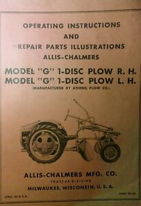 Allis Chalmers Agri Farm Tractor G 1 disc Plow R h L h Owner Parts Manual