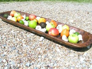 Large Wooden Farmhouse Dough Bowl Bread Trencher Table Centerpiece 0446