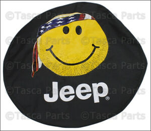 New Oem Smiley Face Black Denim Cloth Spare Tire Cover Jeep Wrangler Liberty