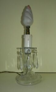 Vintage Glass Table Lamp With Crystal Drops Needs Rewiring