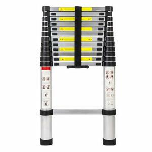 12 5ft Telescopic Extension Aluminum Step Ladder Folding Multi Purpose