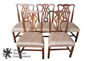5 Kittinger Chippendale Style Solid Mahogany Dining Chairs Colonial Williamsburg