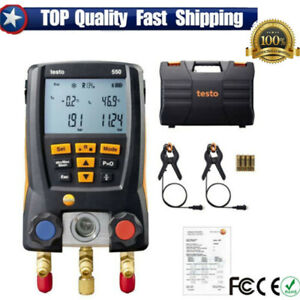 Testo 550 Refrigeration Meter Digital Manifold 0563 1550 With 2 Pcs Clamp Probes