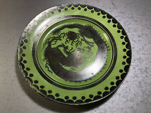 Antique Chinese Porcelain Hand Painted Green Silver Dragon 7 25 Plate