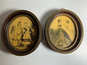 2 Pair Matching Victorian Women Photographs Gold Ornate Oval Frames 4 5 X 5 5