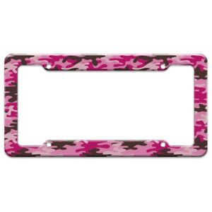 Pink Camouflage License Plate Tag Frame