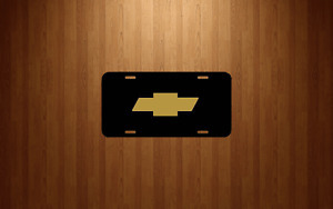 Chevy Chevrolet Bow Tie License Plate Black Aluminum Tag Bowtie