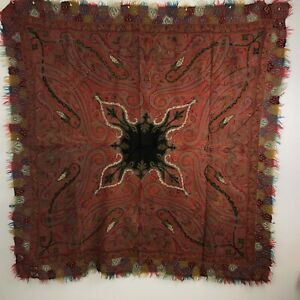 19th Century Antique Kashmir Shawl Paisley 5 6x5 8