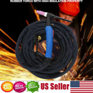 12 Feet 220amp Wp 17fv Tig Welding Torch Complete 2pins Air Cooled Dinse Ck10 25