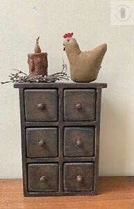 Vintage Primitive Wood Apothecary Spice 6 Drawer Wall Cabinet Box Handmade
