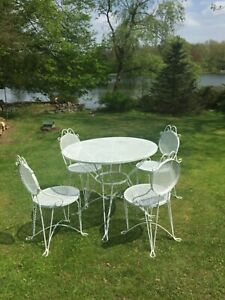 Vtg 1970 Wrought Iron White 5 Piece Patio Dining Set Pick Up Only From 2 Areas