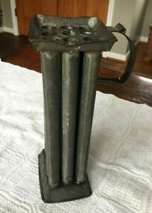 Early Antique Primitive 12 Tube Tin Candle Mold With Handle Farmhouse