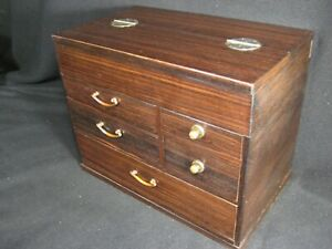 Japanese Vintage Lidded 7 Drawer Tansu Haribako Sewing Chest Secret Drawer