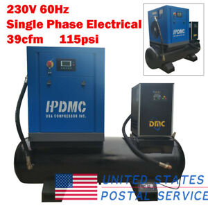 Hpdmc 10hp Rotary Screw Air Compressor 1phase 115psi 80 Gallon Tank Air Dryer