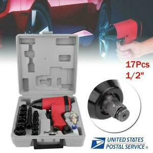 17pc 1 2 90psi Twin Hammer Air Impact Wrench Gun Set W Sockets Us Adapter Case