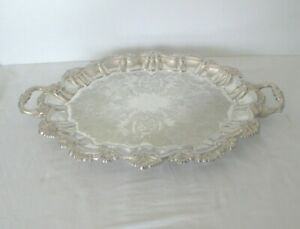 Gorgeous International Silver Co 4 Footed Tray W 2 Handles 22 1 2 X 16 X 2
