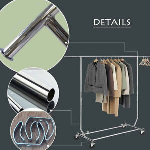 High Quality Commercial Clothes Garment Rolling Collapsible Rack Hanger Storage