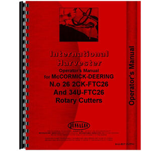 New International Harvester 2 Point Fast Hitch Rotary Cutter Operators Manual