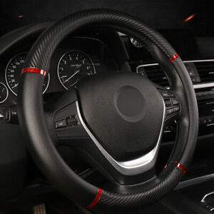 Car Steering Wheel Cover Artificial Leather Comfortable Non Slip Black Red