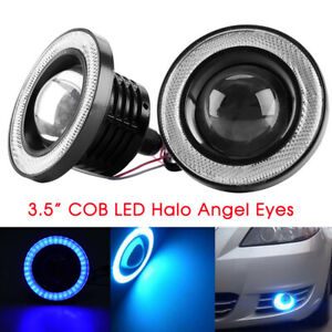 3 5 Inch Cob Led Fog Light Projector Car Blue Angel Eyes Halo Ring Drl Lamp Usa