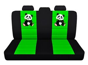 Rear Car Seat Covers 2013 Toyota Corolla Black Lime Green Panda Design