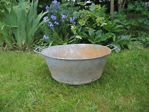 Vintage Galvanised Tin Bath Garden Planter 39 Cm Diameter 535