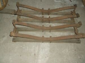 Antique Wooden Horse Drawn Wagon Bolster Springs Original Oak And Metal