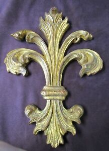 Antique Florentia Gilded Carved Wooden Fleur De Lis Made In Italy