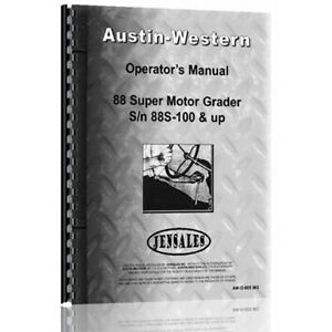 New Austin Western Super 88 Equipment Operator Manual aw o 88s Mg
