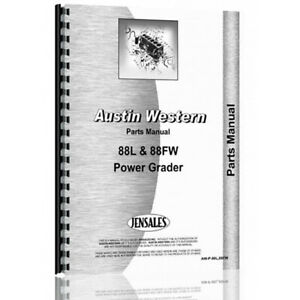 Parts Manual For Austin Western 88fw Grader power Diesel chassis Only