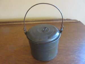 Vtg Small Tin Pail Berry Lunch Bucket W Lid And Wire Handle 3 5 8 X 4 7 8