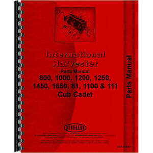 New Tractor Parts Manual For International Harvester Cub Cadet 1100 Tractor