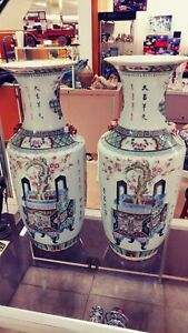 Pair Of Antique Chinese Famille Painted Character Vase 22 Inch
