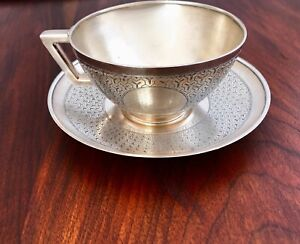 Early Tiffany 19thc Sterling Silver Cup Saucer Tessellated Pattern C 1874