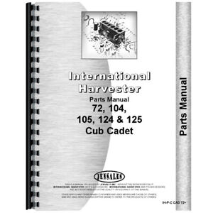 Tractor Parts Manual For International Harvester Cub Cadet 72 Lawn Tractor