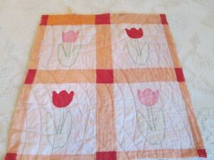 Antique Tulip Floral Cutter Quilt Block 27 X 28 Hand Appliqued