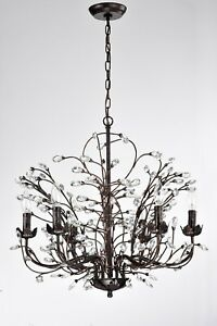 6 Light Antique Copper Chandelier With Vines And Crystals