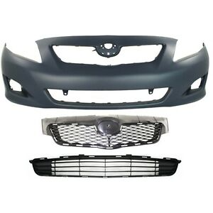 Bumper Cover Kit For 2009 2010 Toyota Corolla Front With Fog Light Holes 3pc