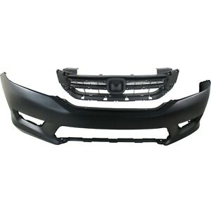 Bumper Cover Kit For 2013 2015 Honda Accord Front 2pc With Grille