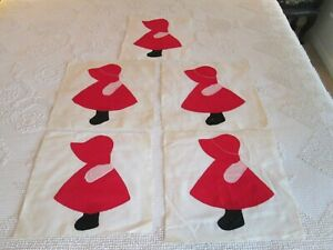5 Red Sunbonnet Sue Vintage Quilt Blocks Squares 12 X 12 Hand Appliqued